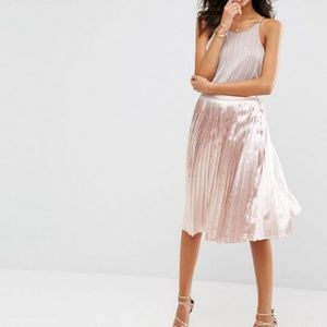 Rose Gold Metallic Midi Skirt